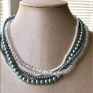 Jewelry - 4 Strand Crystal & Pearl Twist Necklace